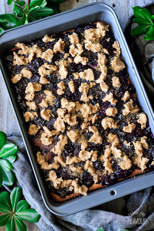 crumble topping on peach and blueberry boy bait before baking
