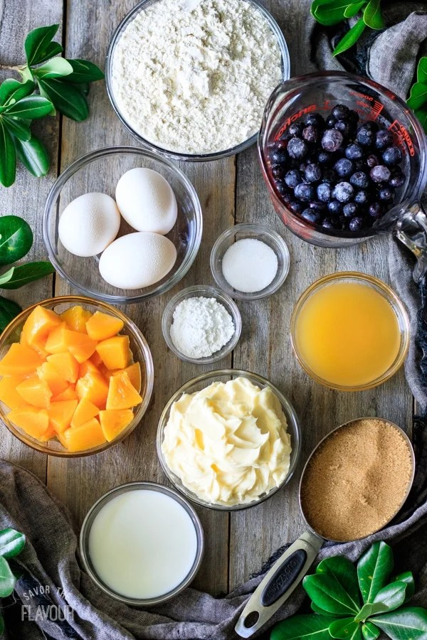 cake ingredients for peach and blueberry boy bait