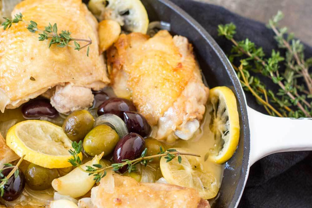 Easy Braised Chicken with Lemon and Olives \\ www.savorylotus.com