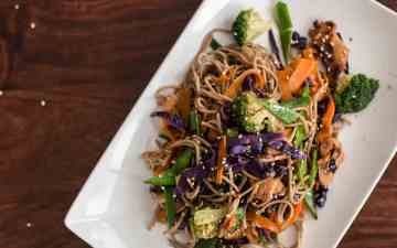 Soba Noodles with Honey Soy Chicken Recipe - This is one yummy combination of gluten free noodles, crunchy veggies and delicious glazed chicken!
