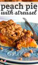 """close up photo of peach pie with text layover """"peach pie with streusel"""""""