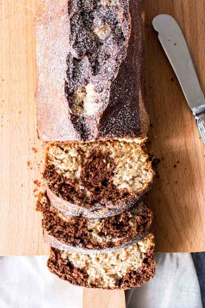 top down view on a sliced banana bread with chocolate swirl