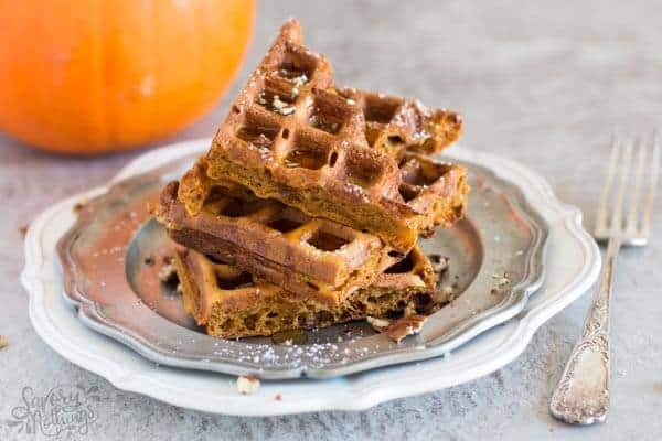 Looking for easy fall breakfast ideas? These simple homemade pumpkin waffles definitely need to happen in your waffle maker this autumn!