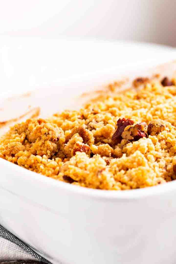 close up of pecan streusel topping