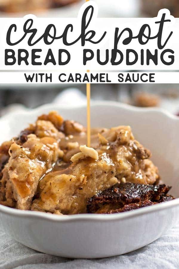 This slow cooker bread pudding with cranberries and walnuts is served with a homemade caramel sauce - it's sure to please! This recipe is quick and easy to whip up & making it in the crock pot yields cozy smells from this traditional holiday dessert! | #thanksgiving #christmas #holiday #holidaybaking #holidayrecipes #holidaydessert #slowcooker #crockpot #slowcookerrecipes #crockpotrecipes #dessert #dessertrecipe #easydessert #thanksgivingfood #thanksgivingrecipes #christmasfood #christmasrecipes