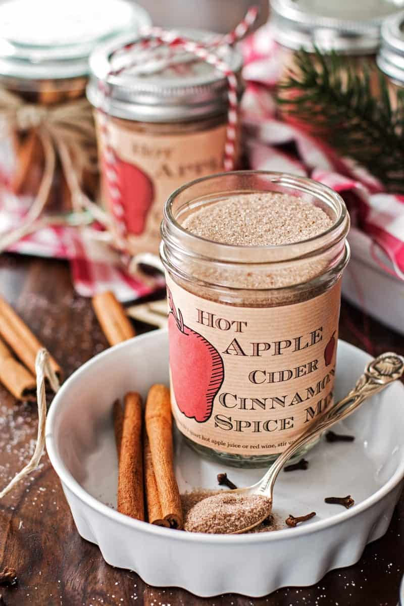 Homemade Hot Apple Cider Cinnamon Spice Mix Recipe (and free printable!) | Savory Nothings - This recipe for homemade Hot Apple Cider Cinnamon Spice Mix is amazing! It's easy to make with few ingredients and makes for a perfect DIY Christmas food gift! Stir into hot apple juice for a delicious and warming holiday drink!