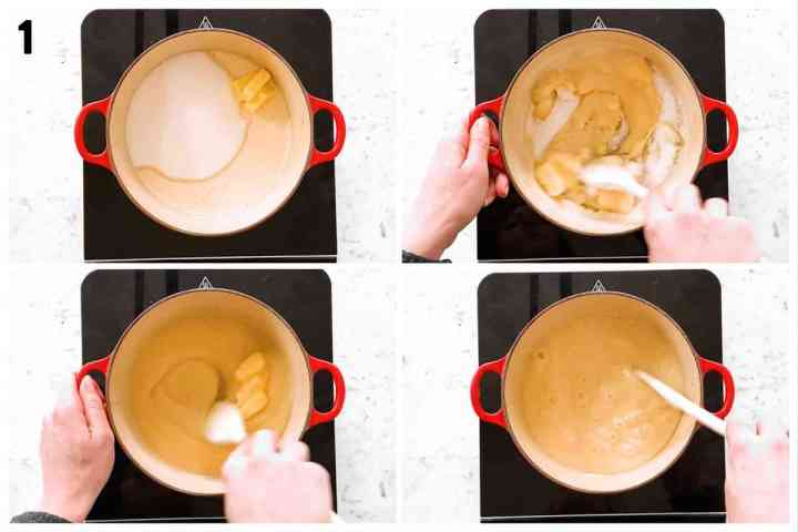 photo collage to show melting sugar with butter and evaporated milk
