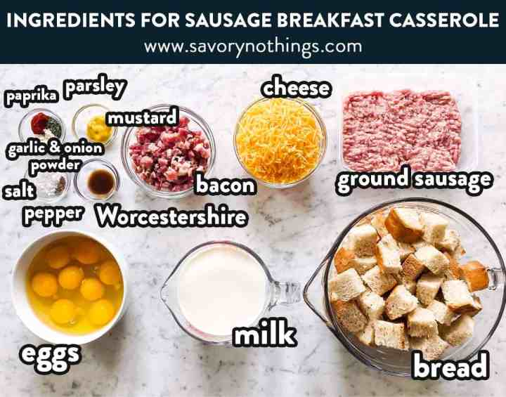 ingredients for overnight breakfast casserole with text labels