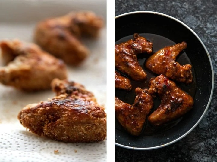 These Sticky Sweet Chili Chicken Wings are deliciously crispy underneath a sticky made-from-scratch Thai Sweet Chili Sauce full of Asian flavors.