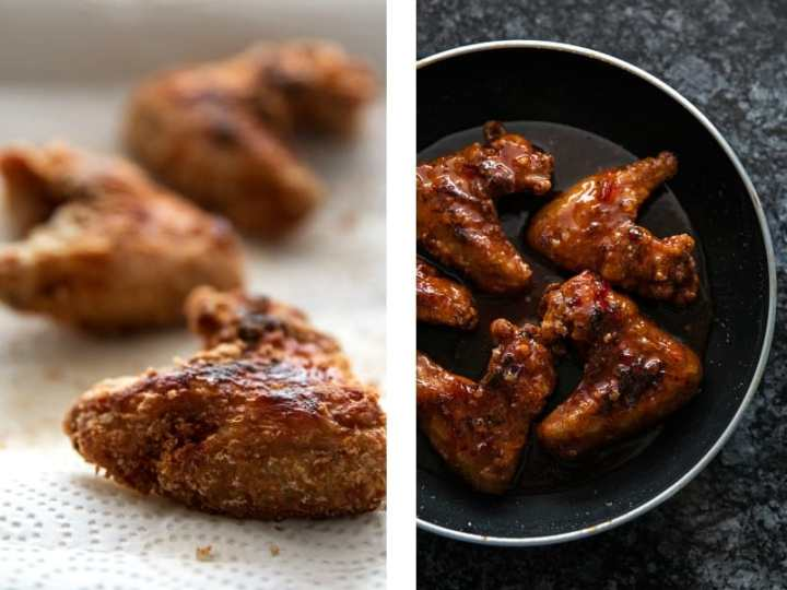 image collage to show fried chicken wings, and glazed chicken wings in skillet