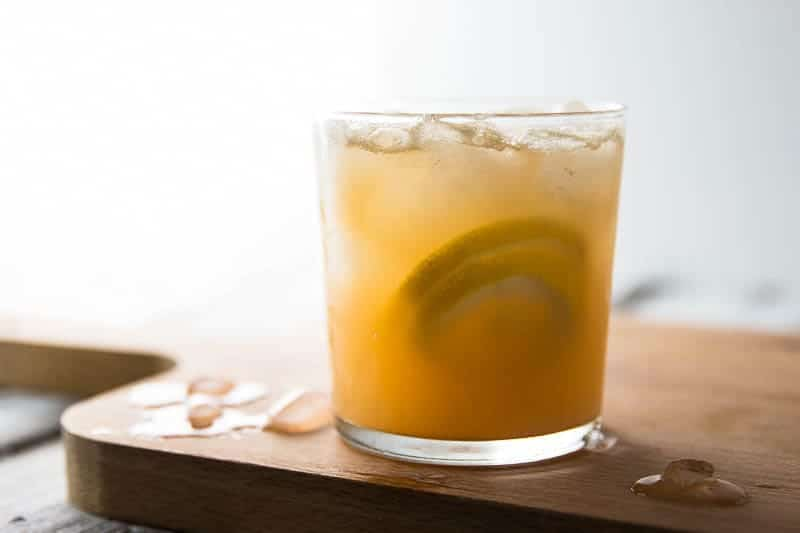 Spiced Ginger Lemonade in a chilled glas