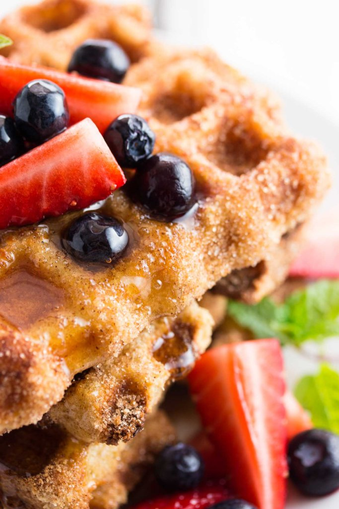 close up photo of french toast waffles