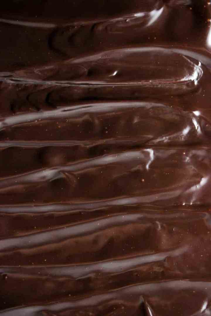 top down view of chocolate ganache on cake