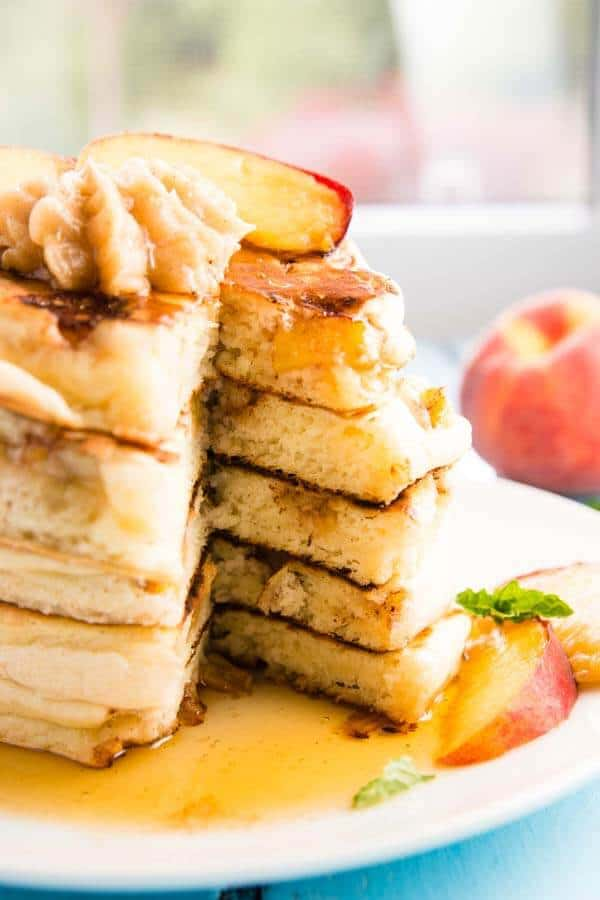 Just look at how thick and fluffy these peach pancakes are! Amazing - all made easy with a mix!