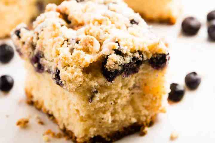Sour Cream Lemon Blueberry Coffee Cake Recipe - The best thing to serve unexpected guests! So easy with a cake mix and still so tasty - nobody will ever know! | savorynothings.com