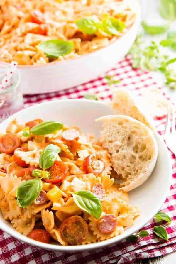 Serve up this easy cold pepperoni pizza creamy pasta salad at your next BBQ grill party or summer potluck! People always rave about this recipe.