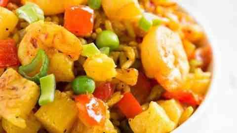 shrimp fried rice in white bowl