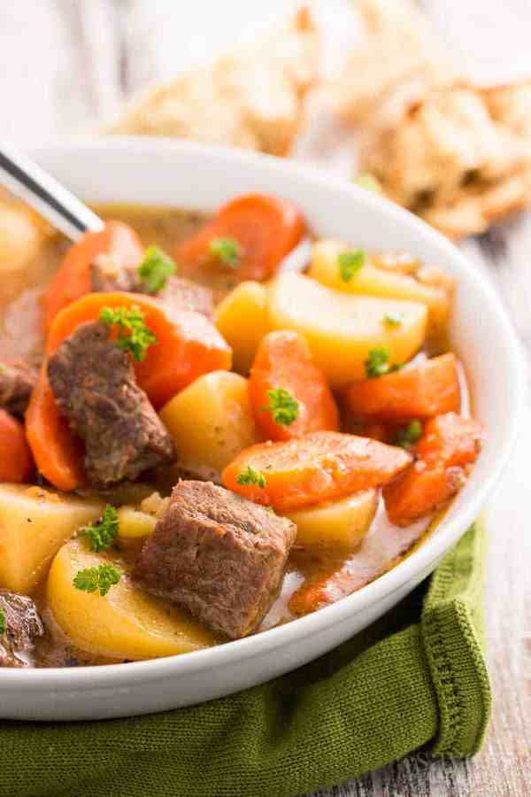 A flavorful Irish Beef Stew you can make in your slow cooker! The long cooking time really allows the flavors to melt together.