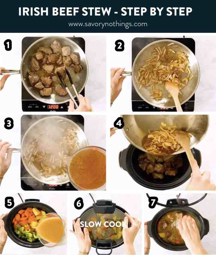 photo collage to show how to make Irish beef stew in the crockpot