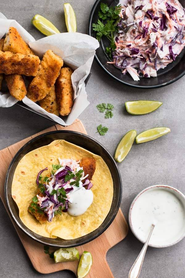 top down view on tablescape with fish tacos