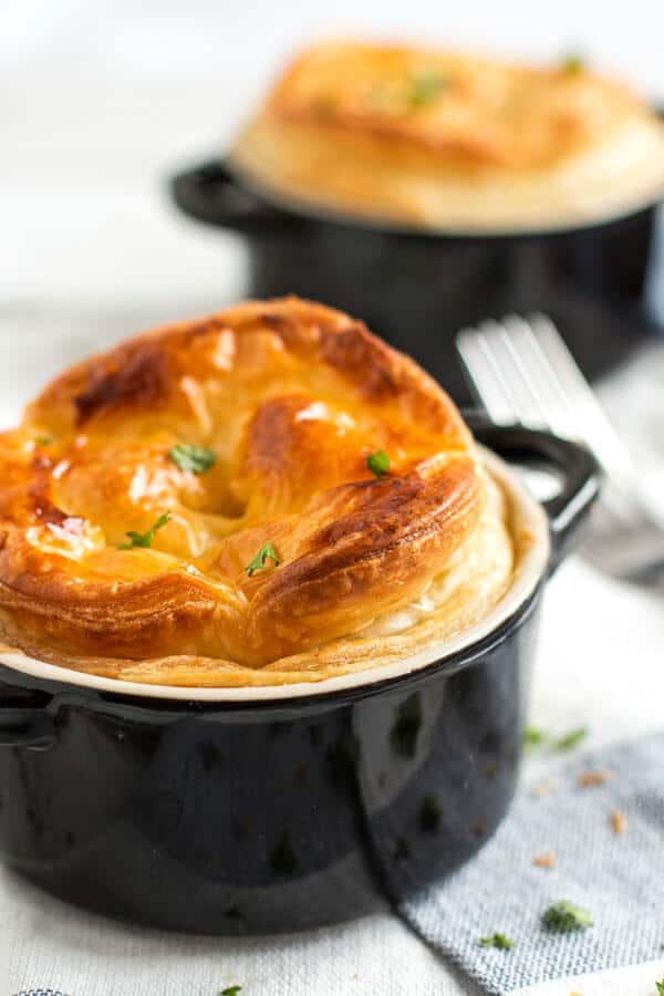 Individual servings of chicken mushroom pot pies.