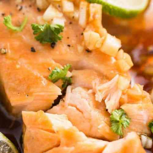 Flakey Salmon in an Asian Honey Garlic Sauce