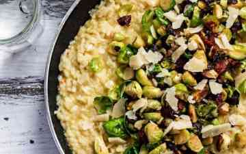 pan filled with risotto, bacon and Brussels sprouts