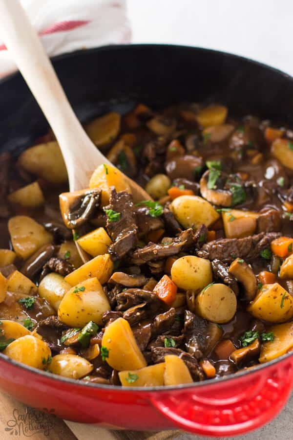Beef tips and gravy skillet, ready to serve.