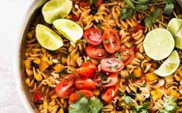 skillet with one pot enchilada pasta