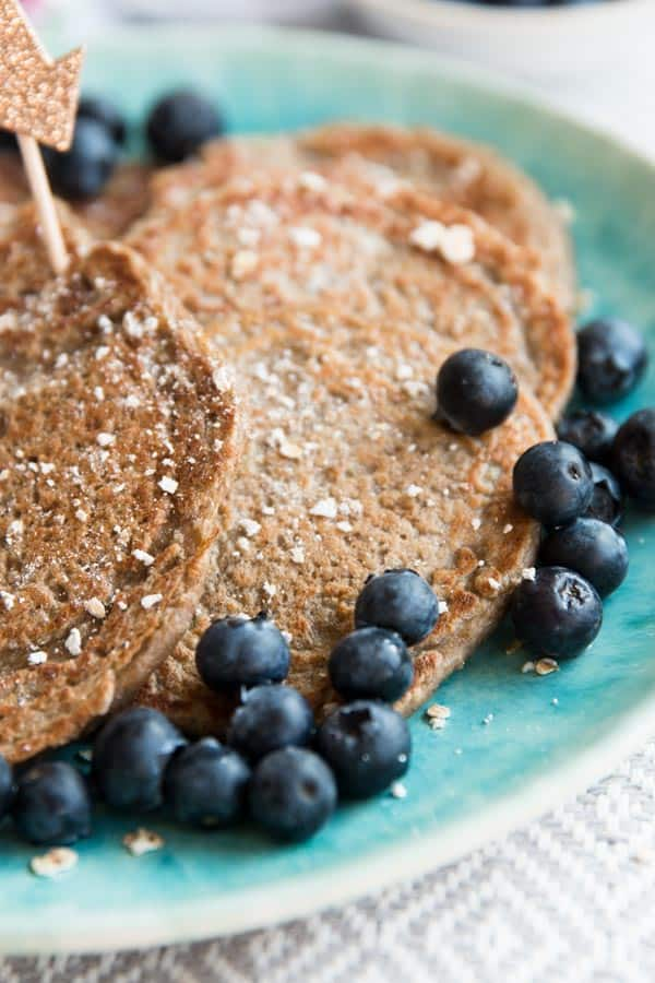 These vegan banana oatmeal pancakes are eggless, dairy free, full of fibre from the oatmeal and pack a nutritional punch with chia seeds.