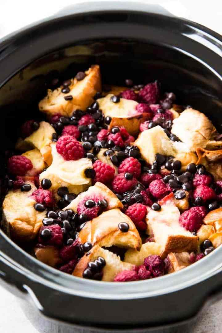 close up photo of raspberry French toast in crockpot