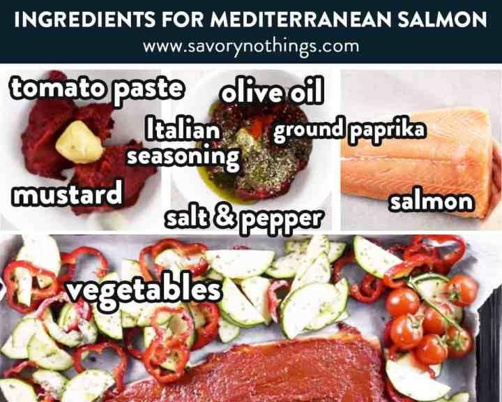 photo collage of mediterranean salmon ingredients