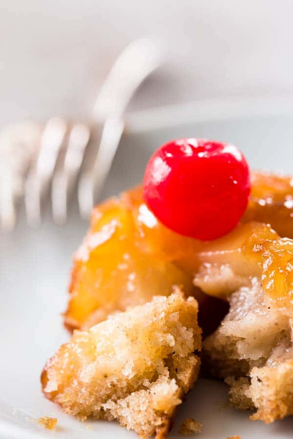 pineapple upside down cupcake with a bite taken out