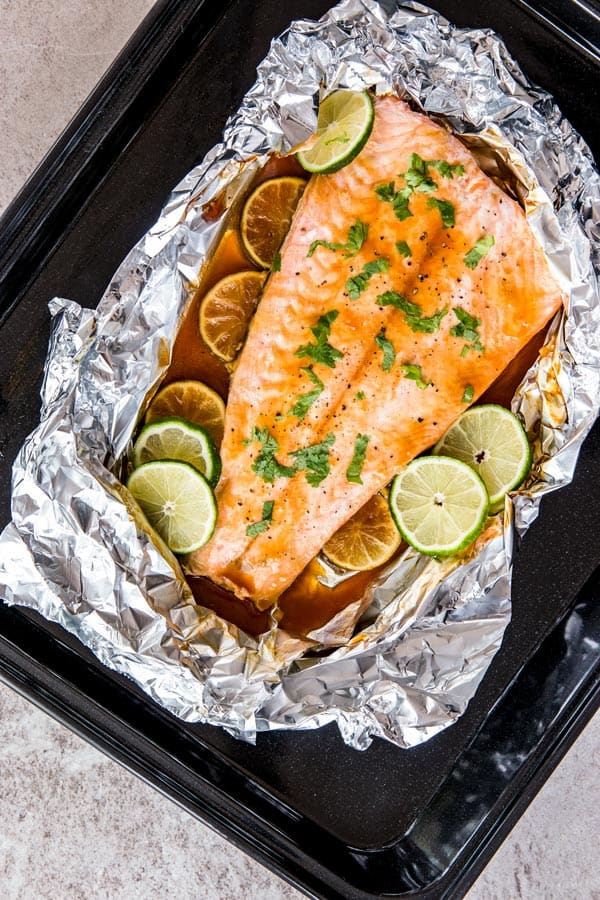 Honey Teriyaki Lime Salmon Baked in Foil is an easy, clean eating dinner recipe for the whole family. Add it to your meal plan next week!