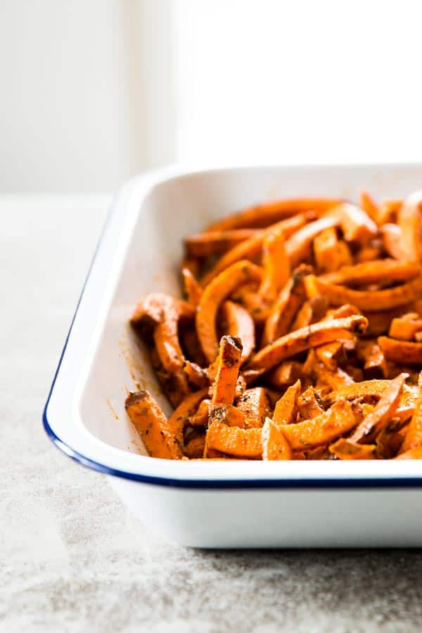Bake up some Mexican sweet potato fries for your next fiesta! Everyone will love them.