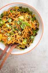 sweet potato noodle salad in salad bowl