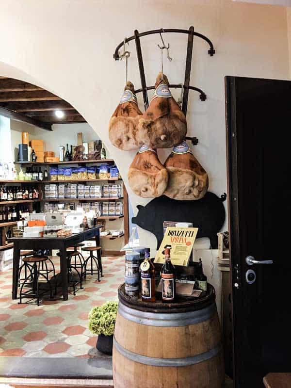 Inside Salumeria Gastronomia Angelo Mangili in Citta Alta of Bergamo, Italy.