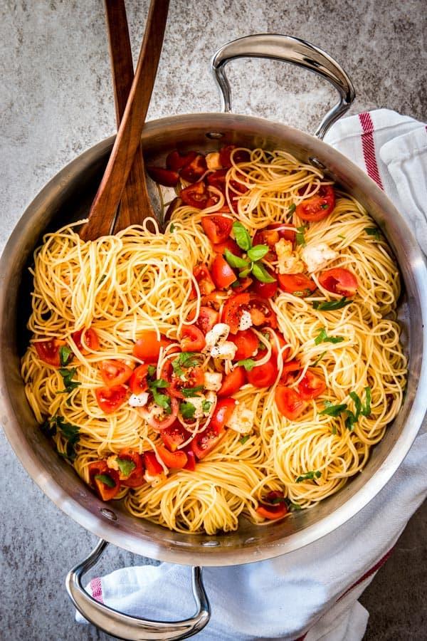 caprese pasta in a skillet