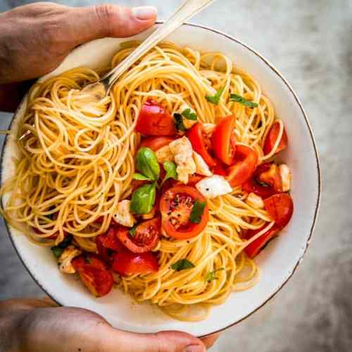 caprese pasta on a plate