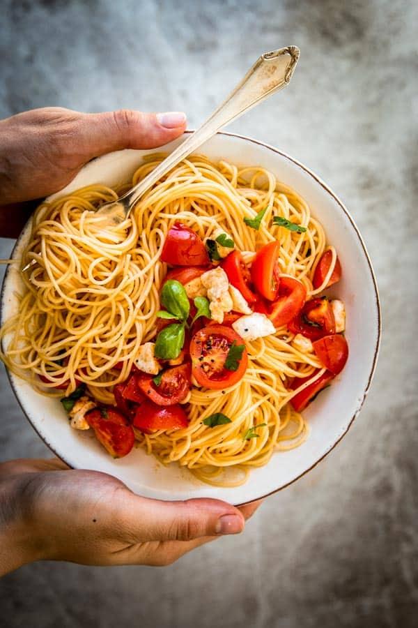 caprese pasta on a plate