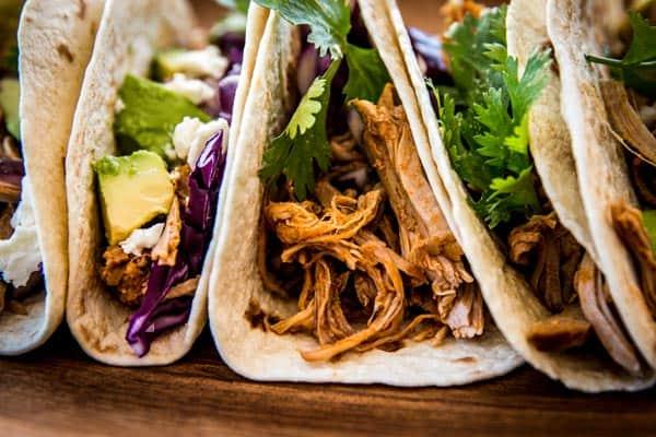 close up photo of pork tacos