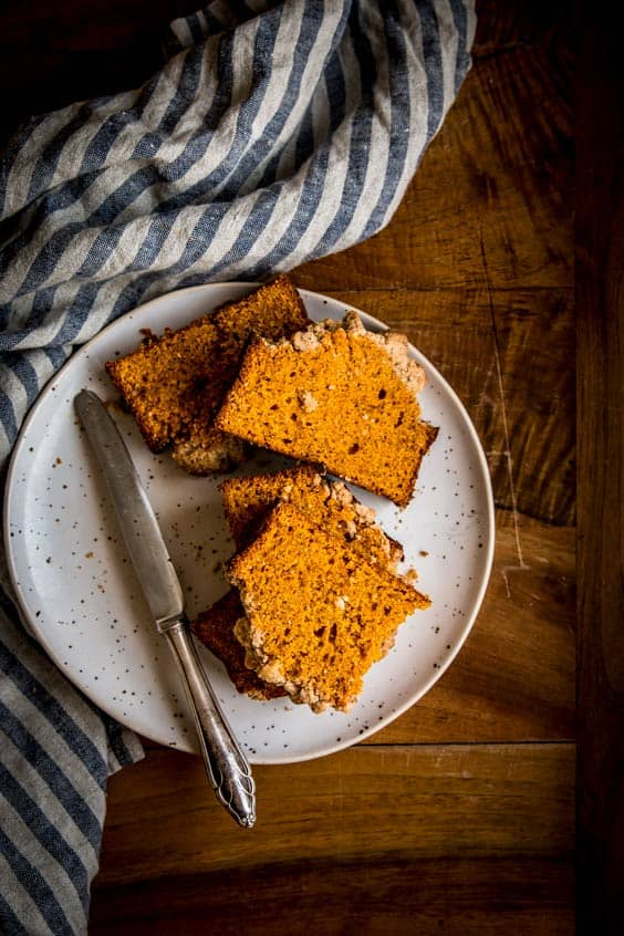 This pumpkin bread recipe makes a moist and delicious loaf. The cinnamon pecan streusel will have everyone begging for more!