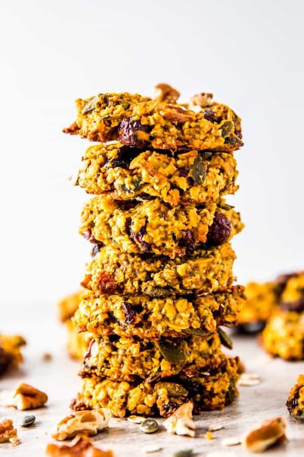 stack of pumpkin breakfast cookies