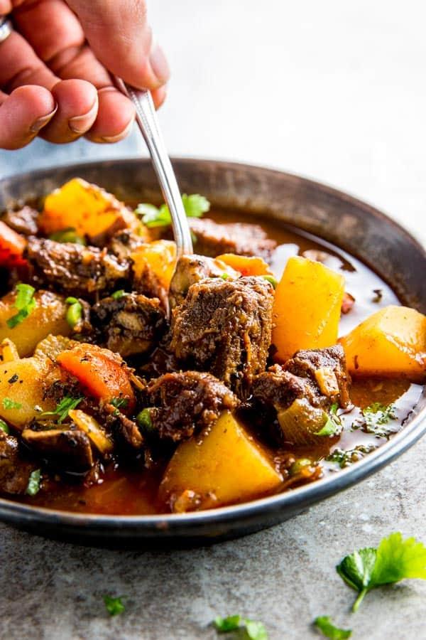 close up photo of crock pot beef stew