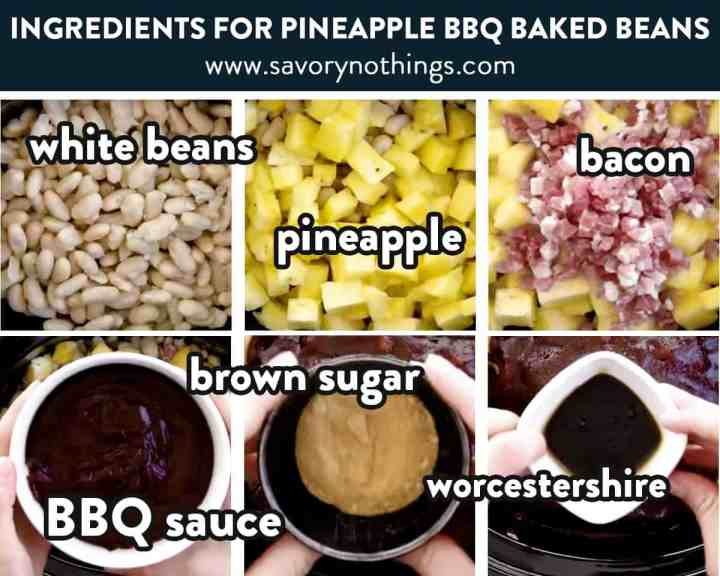 photo collage of pineapple baked beans ingredients