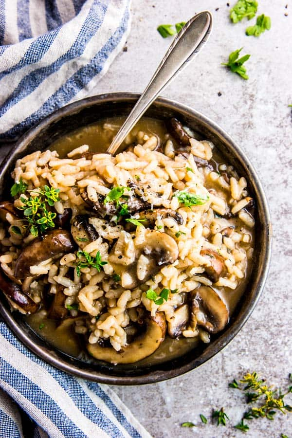 overhead view of bowl with mushroom risotto