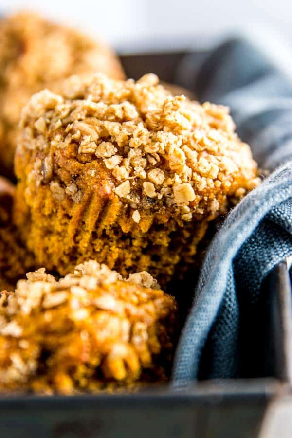 close up photo of a healthy pumpkin muffin