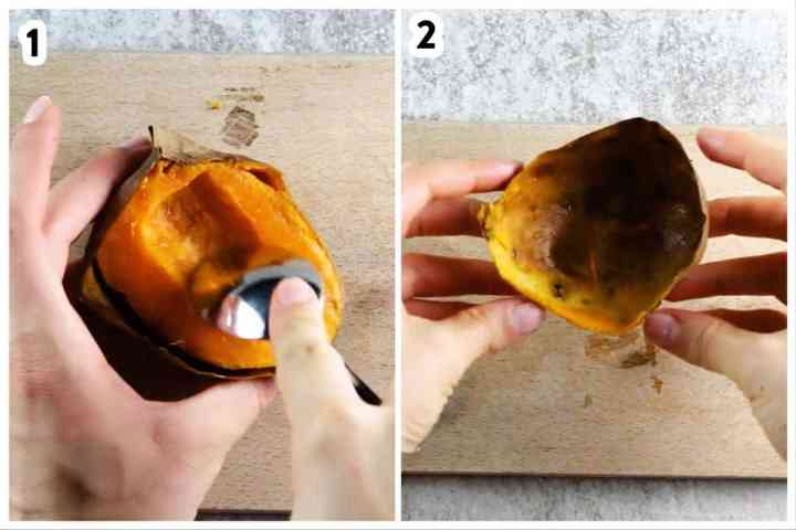 collage to show how to scoop the flesh out of baked sweet potatoes