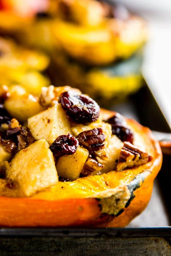 Apple Stuffed Acorn Squash Close Up Photo