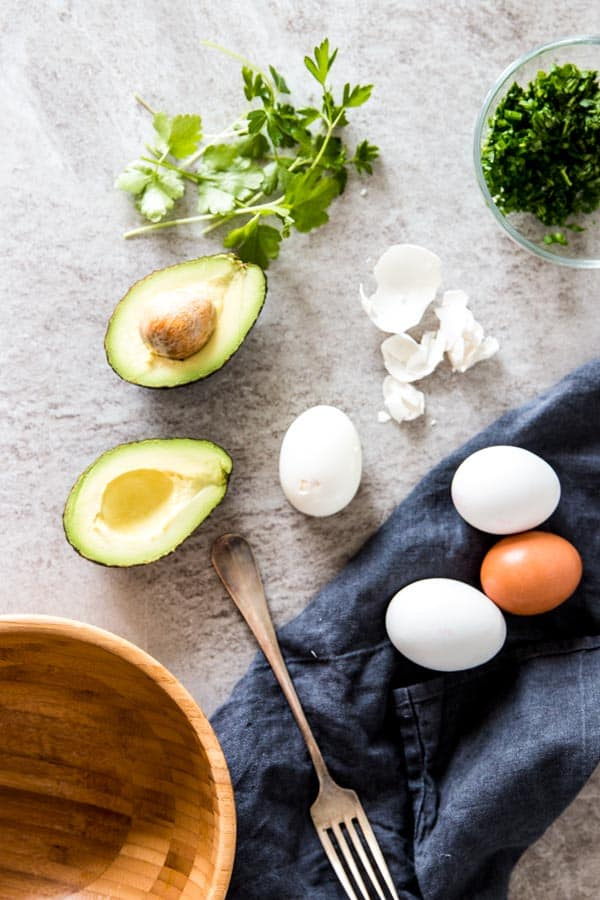 ingredients for avocado egg salad